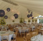 Marquee with blue and white colour scheme